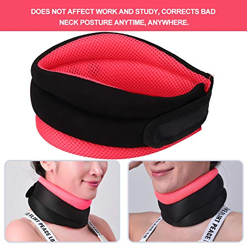 Soft Neck Traction Collar Durable Neck Support Belt Convenient for Correct Bad Posture for Relieve Cervical Fatigue for Home Use for Relaxion(Orange, One Size)