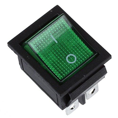 Jaimenalin Luz verde 4 Pines DPST ON/OFF Interruptor del balancin de broche en barco 16A/250V 15A/125V AC