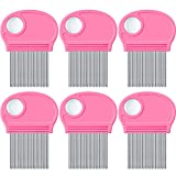 6 Pieces Head Lice Remover Nit Removal Hair Comb with Magnifier, Fine Metal Teeth Tool for Dogs Cats Pet Human Grooming and Removing Dandruff Flakes/Lice Eggs (Pink)