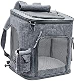 CRMY Extra Large Dog Backpack, Foldable cat Backpack for Cats and Dogs, Breathable pet Backpack with Inner Safety Leash + Collapsible Dog Bowl
