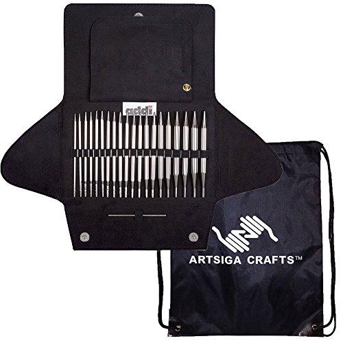 addi Click Basic Etui, Stecksystem, weiß-bronzefarben, Exklusive Goldschnüre Bundle mit 1 Artsiga Crafts Project Bag
