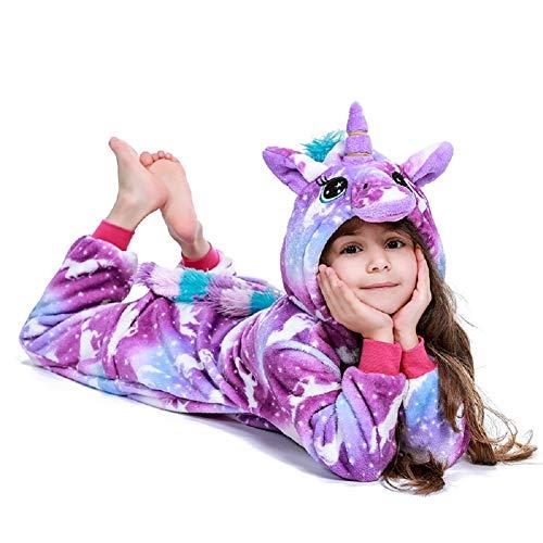 FuRobes Kids Animal One-Piece Pajamas Cosplay Costume Hooded Jumpsuit Plush Sleepwear for Girls & Boys Purple Unicorn Zipper 2-4 Years Old