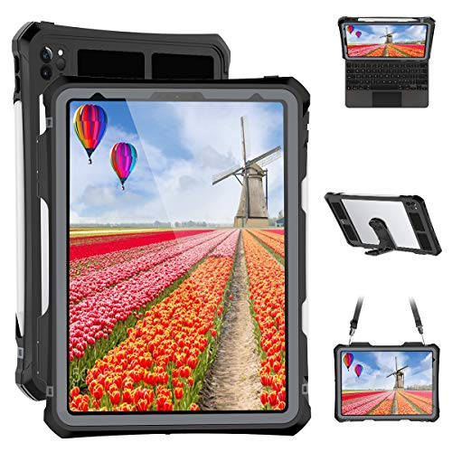 iPad Pro 11 case - Black Waterproof Case for iPad Pro 11 inch 2020 Clear Full Body Protection Bumper Case Shockproof Dustproof with Ring Stand Strap Built in Pen Holder
