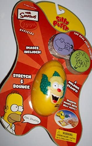 2003 The Simpsons 100% Official Silly Putty with Krusty the CFaiblen Egg Storage Container and 2 Molding Stamps by Silly Putty