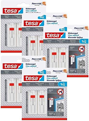 tesa Verstellbarer Klebenagel für Tapeten und Putz/Selbstklebender Nagel von tesa Powerstrips (10 Nägel (1 kg))
