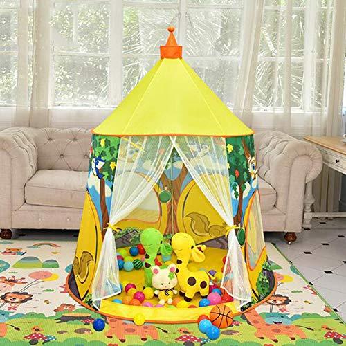 YONG Pop Up Kinderspielzelt Spielhaus Mädchen Spielzelt 125x125x137cm - Kinder-Zelt Bällebad Pop-up Zelt,Gelb Eule Baby Spielzelt