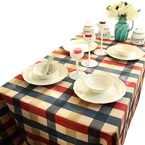 NiSeng Nappe de Table en Coton a Carreaux Anti-tâche Rectangulaire Nappe pour Table Exterieur Decoration de Table Rouge 140x200 cm