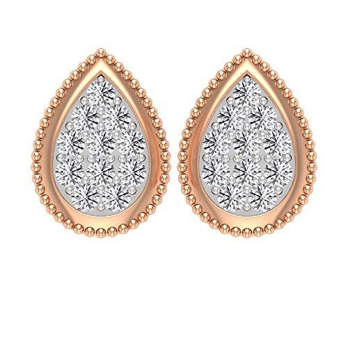 Vintage 1/2 CTT zertifizierte Diamant Cluster Tropfenform Tropfenform Illusion Gold Perlen Art Deco Ohrstecker Frauen Party Tragen Bequeme Ohrringe 10K Roségold, Paar
