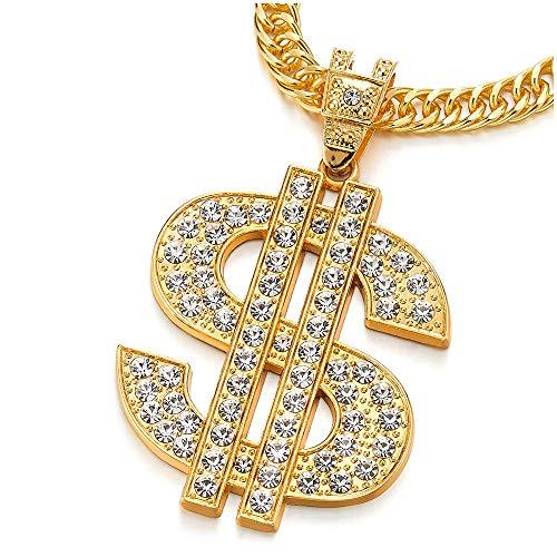 COOLSTEELANDBEYOND Hip Hop Punk Color Oro Grande US Dólar Signo De Dinero Collar Colgante con Rhinestones de Hombre Mujer, Cruce