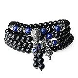 coai Collier Mala Bracelet Multi-Tours 108 Perles Bouddhistes Obsidienne Lapis Lazuli Unisexe