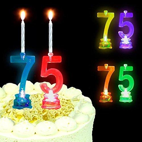 Geburtstagskerzen + LED-Kerzenhalter im Set als Zahl für Torte Zum 75.Geburtstag