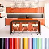 KINLO Papel de Cocina Naranja 80x500cm de PVC Adhesivo para Armario Cocina Papel Adhesivo para Muebles Papel Impermeable Autoadhesivo para Armario de Cocina Papel Decorativo con Brillo