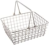 Spectrum Diversified Medium Wire Storage Basket With Handles, Rustic Farmhouse Basket With Handles, Rust-Resistant Finish, Rustic-Style Tote Basket for Home Décor
