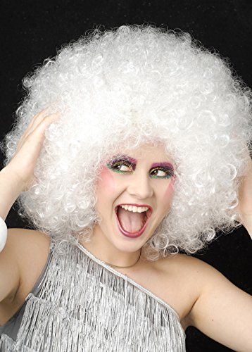Struts Fancy Dress Blanc Extra bouclés 70 s Disco Perruque Afro