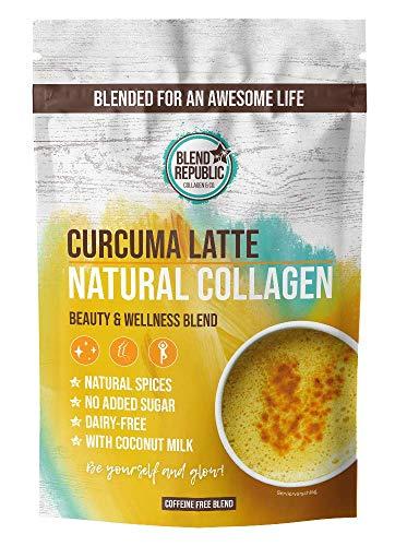 Kurkuma Latte Collagen ⍟ Goldene Milch mit Kollagen Pulver ⍟ Kollagen Peptide Type I, II und III ⍟ Beauty Collagen Drink - Turmeric Latte ⍟ 30 Portionen 300g