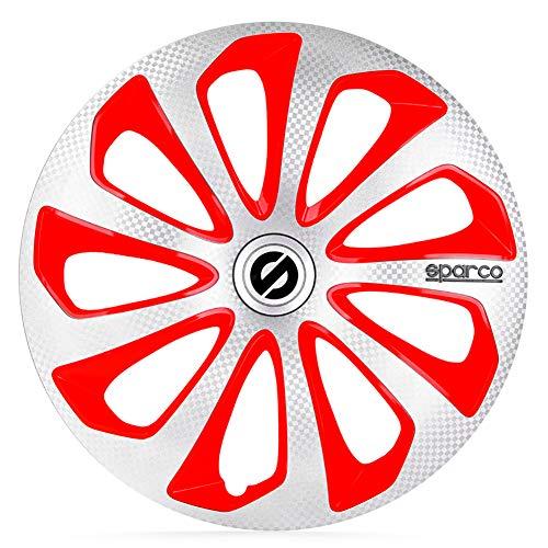 SPARCO Jeu d'enjoliveurs Sicilia 16-inch Argent/Rouge/carboné