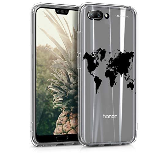 kwmobile Hülle kompatibel mit Honor 10 (2018) - Handyhülle - Handy Case Travel Umriss Schwarz Transparent