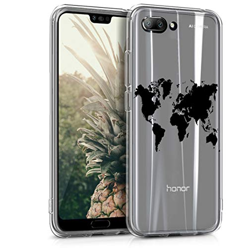 kwmobile Huawei Honor 10 Hülle - Handyhülle für Huawei Honor 10 - Handy Case in Travel Umriss Design Schwarz Transparent