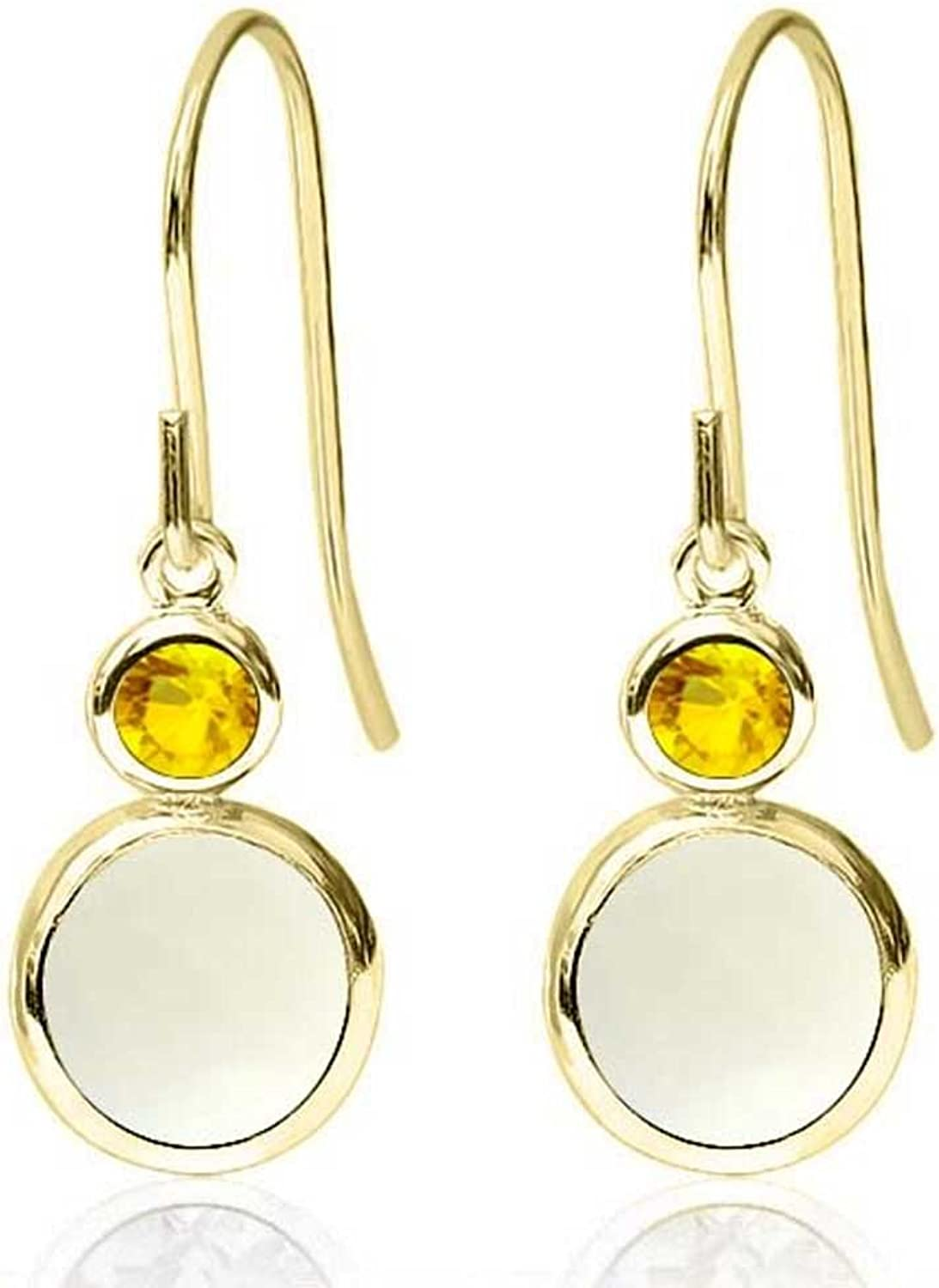 1.56 Ct Round Cabochon White Simulated Opal Yellow Sapphire 14K Yellow gold Earrings