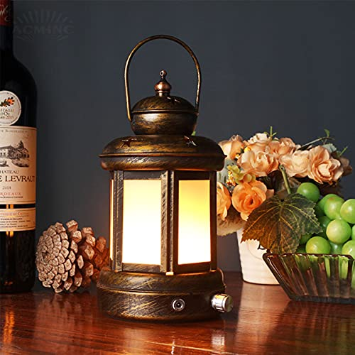 ACMHNC Vintage Lámpara de Mesa Regulable Con Batería, Lámpara de Escritorio Restaurante...
