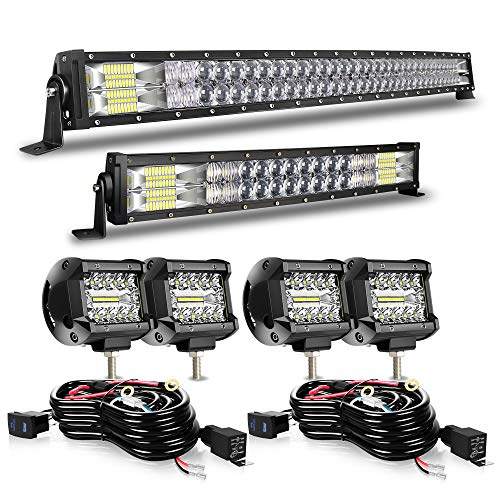 DOT 5D Curved 42Inch 240W&22Inch 120W LED Light Bars+4x 4Inch 60W Off Road Driving LED Fog Cube Pods W/Wiring Harness For Polaris Tractor Marine Can Am x3 Maverick Honda GMC Sierra liberty ATV UTV SUV