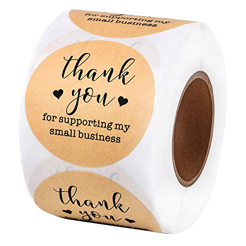 2 Inch Thank You Stickers (500 per Roll) - Natural Brown Kraft Stickers (Permanent Adhesive) for Store Owners, Crafts, Organizing, Jar and Canning Labels (Brown,Black)