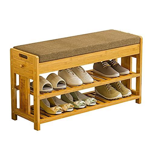Yirunfa Banco Organizador Entrada con 2 Cajones, 2 Niveles Taburete para Zapatos de Bambú, Hardware, Resistente y Duradero, para la Entrada del Pasillo del Dormitorio