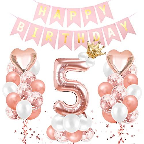 O-Kinee Cumpleaños Globos 5, Decoración de cumpleaños 5 en Oro Rosa, 5er Cumpleaños Globos, Feliz cumpleaños Decoración Globos 5 Años, Globos Numeros para Cumpleaños, Fiesta, Decoración