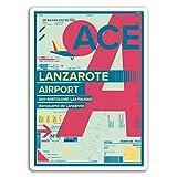 2 x 10 cm aeropuerto de Lanzarote - pegatinas de vinilo del viaje del equipaje del ordenador portátil # 17174 (10 cm de altura)