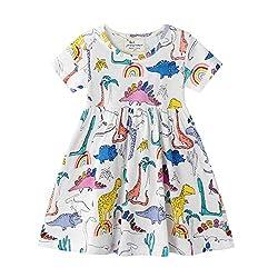 6. Hongshilian Little Girls Cartoon Print Cotton Casual Dress