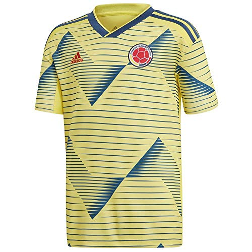 adidas Kid's FCF Colombia Home Soccer Jersey (Medium) Light Yellow/Night Marine