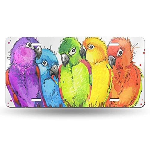 VJSDIUD Decoración de matrículas Colorful Parrots with Splash Watercolor License Plate,Decorative Car Front Vanity Tag,Metal License Plate,Aluminum Novelty License Plate,6 X 12 Inch (4 Holes)