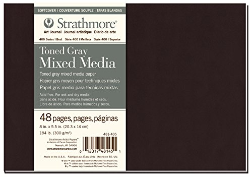 Strathmore 481-405 Softcover Mixed Media Art Journal, 8'x5.5', Toned Gray