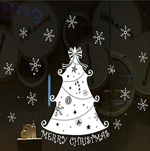 Lovemq Cartoon Weihnachtsbaum Schneeflocke Papier Fenster Frohe Weihnachten Für Geschenk Aufkleber Dekorationen Für Wandaufkleber 60X60Cm