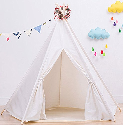 Teepee Tent for Kids | White Kids Teepee Tent | Tipi Tents Indoor Outdoor | Play Tent Foldable 7 Feet Tall - 5 Poles | Customizable Cotton Blend Tent | Large Childrens Teepee Tents Girls and Boys Kids