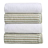 AFFORDABLE BUNDLE: 4-pack of cotton bath towels 2 White 2 Multi Beige. 4 Bath Towels (30 inch x 52 inch) QUICK-DRY, ABSORBENT, 100% COTTON: Our Milos towels are designed to absorb more liquid than ordinary towels, and they dry quickly and completely....