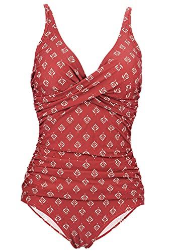 LA ORCHID Laorchid einteiliger Badeanzug bademode v Ausschnitt Damen Badeanzug bauchweg Push up große größen Schwimmanzug Raffung Bikini Rot Geblument XL