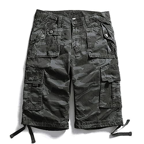 Shorts Pantalones Cortos Hombres Pantalones Cortos para Hombre Camo Hombre Casual Algodón Bolsillos Pantalones Camuflaje Pantalones Cortos Sueltos Hombres-Dark_Grey_31