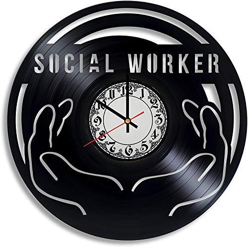 Reloj de pared de vinilo de diseño de trabajador social, regalo para hombres, apreciación de trabajadores sociales, trabajo social, decoración de oficina, trabajo social, regalo de graduación
