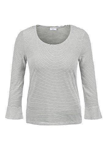 ONLY Linda Damen Longsleeve Langarmshirt Streifenshirt Shirt Mit Rundhalsausschnitt 3/4 Arm Und Volants, Größe:XL, Farbe:Cloud Dancer