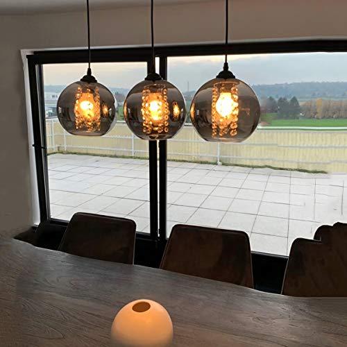 LED Kristall Pendelleuchte esstisch Pendellampe Esszimmer Höhenverstellbar Kronleuchter Hängeleuchte 3-Flammig aus Glas in Farbe Grau Küchen Wohnzimmerlampe Schlafzimmerlampe Flurlampe