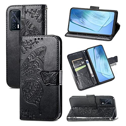 Funda tipo cartera para Samsung Galaxy S21 Ultra Chica de piel con tapa y ranuras para tarjetas, diseño de mariposas, color negro