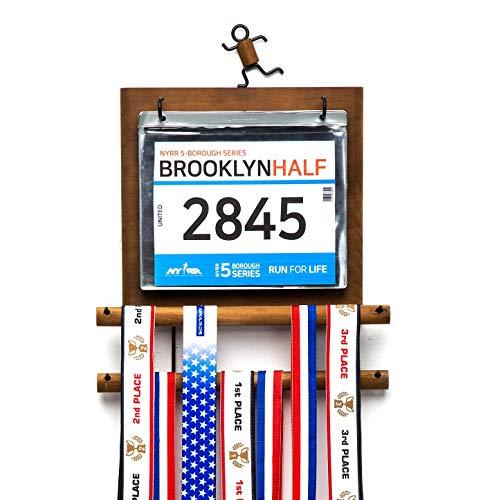 J JACKCUBE DESIGN - Marathon Medal Display Hanger Race Bibs Holder for Runners Wood Wall Mounted Rack Gymnastics Awards Olympic Triathlete Gifts - MK503A