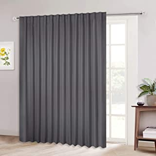 NICETOWN Patio Door Curtain Slider Blind, Wide Width Blackout Curtains/Drapes with Rod Pocket & Back Tab Design, Grey Sliding Door Draperies (Gray, 100 inches W x 84 inches L, Single Panel)