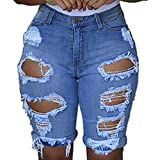Crazboy Damen elastische Leggings mit Destroyed Hole Shorts Kurze Hose Denim-Shorts Zerrissene Jeans -