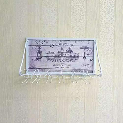 GJJSZ Regal Metall Wand weinregal kreative weinglas Halter Becher Rack hängen weinregal bar Wohnzimmer esszimmer modernen minimalistischen 69 * 26 * 40 cm (Farbe: weiß)