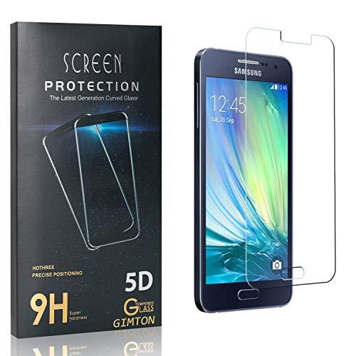 GIMTON Vetro Temperato per Galaxy A3 2015, Alta Trasparenza Pellicola Protettiva in Vetro Temperato per Samsung Galaxy A3 2015, Nessuna Bolla, 3 Pezzi