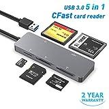 CFast Kartenleser, Rocketek USB 3.0 5 in 1 CFast 2.0 Speicher karten adapter Hub 5 Gbps gleichzeitig für CF, XD, SDXC, SDHC, SD, TF, SDXC etc. Kompatibel für SanDisk, Lexar, Transcend, Sony Card.