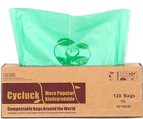 Cycluck 120 Sacs 10L 100% Biodégradable et Compostable 6L 10L 30L Sacs Poubelle en 13432, Fabriqué à partir d'amidon de maïs (10L)