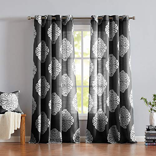 """Treatmentex Black and White Print Curtains for Living-Room Semi-Sheer White Medallion Floral Window Draperies 63"""" Grommet Top 2 Pack"""
